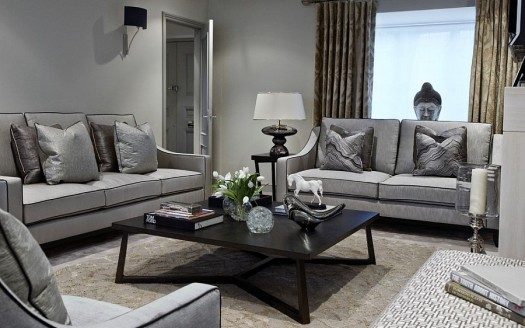 Fabulous-living-room-in-gray-with-a-black-coffee-table
