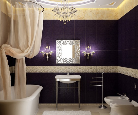 Apartament 2 camere brancoveanu zona de sud Purple and gold bathroom accessories